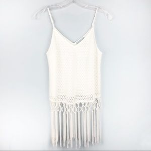 SKIES ARE BLUE White Crochet Fringe Tank Top Small